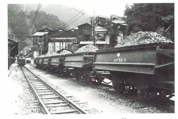 端出場坑道の鉱石を搬出する電車