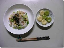 サラダすしと抹茶白玉